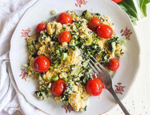 Umešana jajca s kvinojo