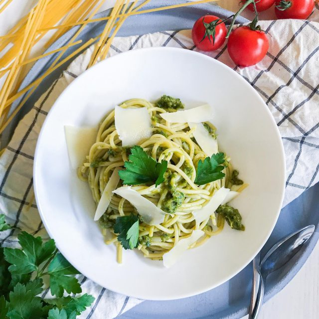 🤩🤩New easy and delicious pasta recipe that is done under 15 minutes! 🙃 This Parsley Spaghetti dish is super fresh and for the sauce you simply blend some ingredients. 🤤 I like having cherry tomatoes even during winter, because they are packed of flavor and I actually keep parsley in my freezer, stored fresh.👍  Sounds good, right?  👉 Check out the recipe below and tag a friend who would love this recipe.👈⁠ ⁠ Recept v 🇸🇮 že na blogu (link v bio).👍 ⁠  ✨ Parsley Spaghetti ✨  Ingredients: 250 grams of spaghetti 35 grams of parsley 1 garlic clove Little red onion (a bit larger piece than garlic) 90 grams of cherry tomatoes 1 tea spoon of salt Black pepper 4 table spoons of olive oil 60 grams of Grana Padano cheese Topping: Grated Grana Padano cheese Olive oil Instructions: Cook spaghetti in hot salty water and then drain it but save some starchy water.  While spaghetti is cooking, just simply blend other ingredients (parsley, garlic, onion, cherry tomatoes, olive oil, salt and pepper) to smooth pesto. (adjust the quantities to taste) Add parsley pesto to cooked spaghetti and stir and add little starchy water to make it moist. Leave covered up for a minute so that pesto ingredients cook from the heat of hot spaghetti and start to smell good. Then stir in grated Grana Padano cheese. Serve straight away, topped with some additional grated cheese and drizzle with olive oil. Time – 15 minutes Quantity – 3 portions