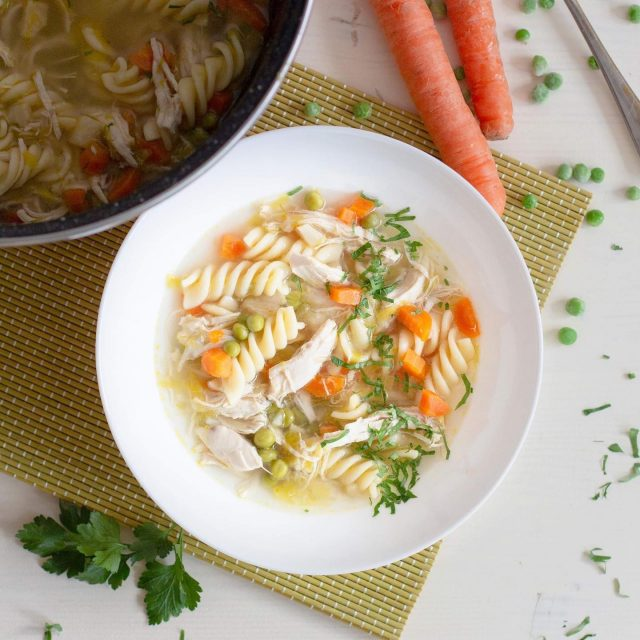 🍲 Yummy Chicken Soup with Fusilli Pasta is perfect for rainy day. Do you agree?😊  🇸🇮 Ta recept ni nov, je pa na novo objavljen na blogu. 😜  👉 Check out the recipe below and tag a friend who would love this recipe.👈⁠ ⁠   ✨ Chicken Soup⁠ with Fusilli Pasta ✨  Ingredients:⁠⠀ 500 grams of chicken breast with bone⁠⠀ 100 grams of leek⁠⠀ 200 grams of carrots⁠⠀ 150 grams of frozen peas⁠⠀ 80 grams of celery root⁠⠀ Half a medium onion⁠⠀ 2 cloves of garlic⁠⠀ 150 grams of pasta (fusilli)⁠⠀ Olive oil⁠⠀ Salt Black pepper⁠⠀ Fresh parsley⁠⠀ Instructions:⁠⠀ Chop the onions and cook it in a large saucepan on olive oil while stirring, until slightly browned and softened. In between, cut leek, peel carrots and celery root and cut it to small pieces.⁠⠀ Then add all the vegetables (leeks, carrots, celery, chopped garlic and peas) to the pot, season it with salt and cook it over on high heat during stirring, to get them a little browned. Add chicken breasts to the pot, pour in hot water, just enough to cover all the ingredients. Then cook over low heat for at least 1 hour. After this season it to your liking with salt and black pepper.⁠⠀ Then take the meat out of the pot, remove the bone and shred the meat with a fork and return it to the pot. Add the pasta and cook for a few more minutes, according to the packaging instructions for the pasta to be done. Add some more water if the dish becomes too thick. Taste and season with salt and pepper if necessary, otherwise sprinkle with chopped parsley and serve hot.⁠⠀ ⁠Quantity - 6 portions⁠⠀ Time - 1 hour 30 min⁠⠀